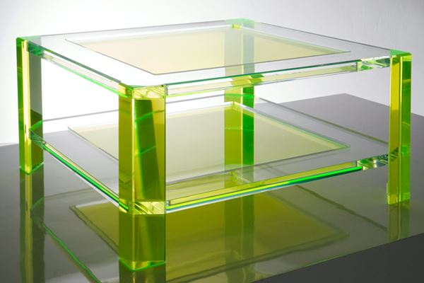 Acrylic coffee table in neon green