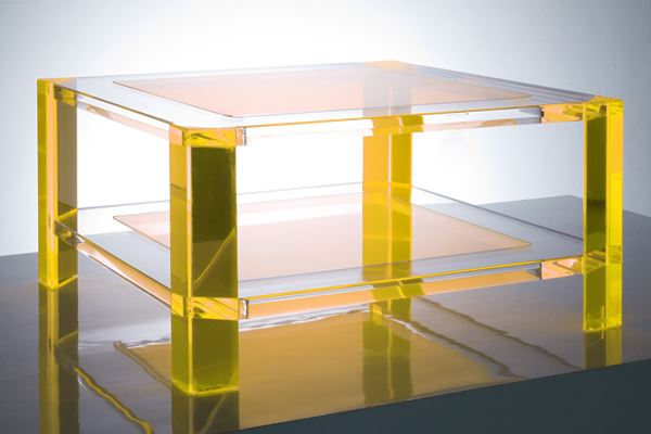 Acrylic coffee table in yellow