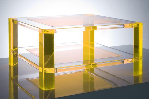 Acrylic coffee table in yellow