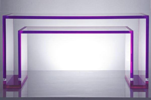 Acrylic console table in amethyst