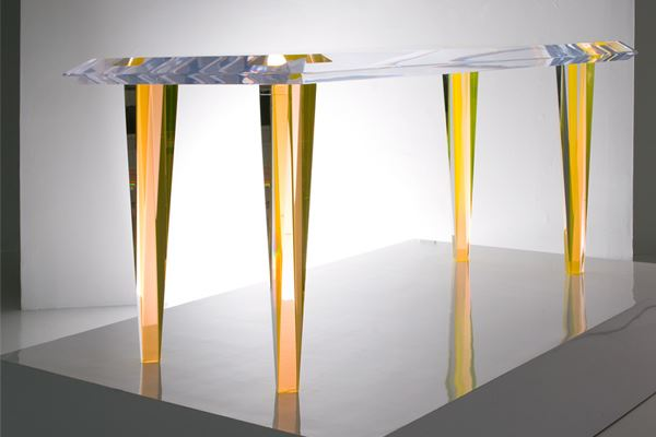 Acrylic dining table in yellow