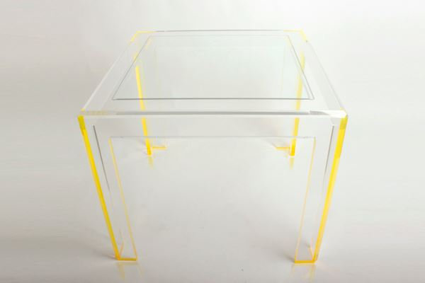 Acrylic table with yellow trim