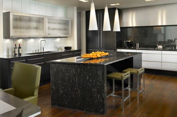 Add lovely Olive Green to the kitchen easily with stools and seating options