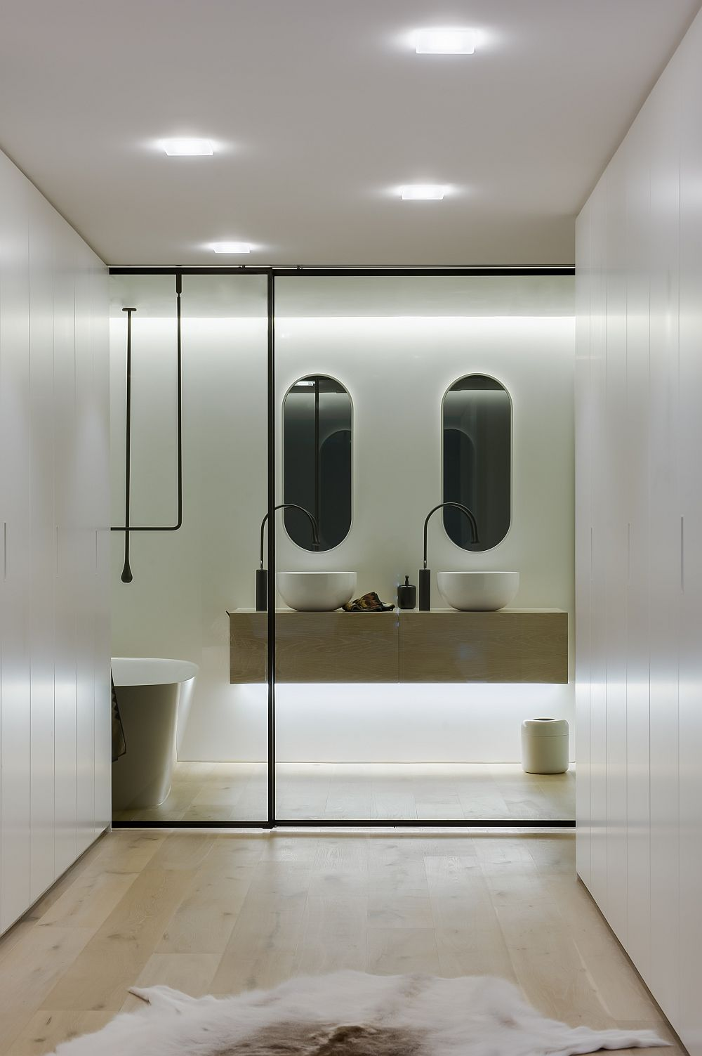 Bathroom with glass doors closed