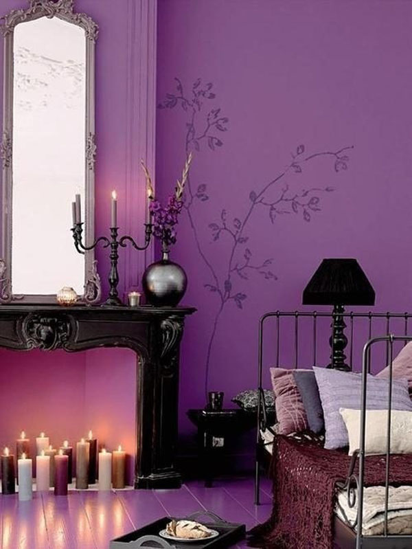 Violet Room Design: 13 Dark Bedrooms With A Subtle Halloween Vibe