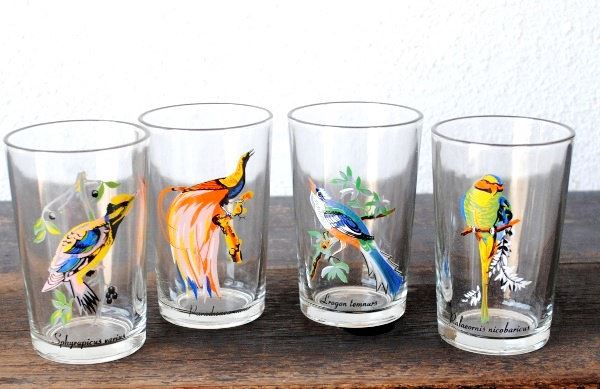Bird-themed vintage drinking glasses