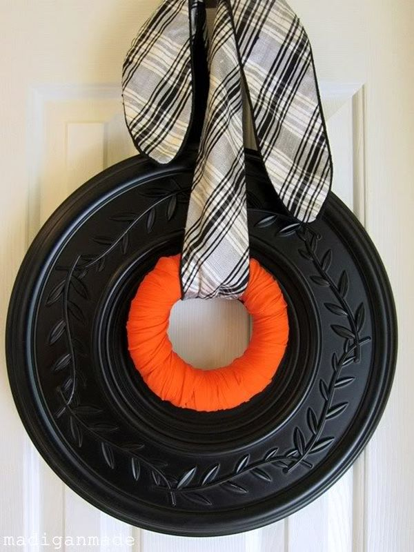 Black and orange Medallion Halloween wreath