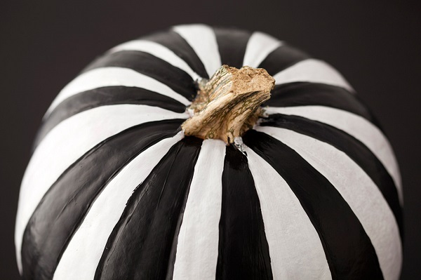 Black and white striped pumpkin
