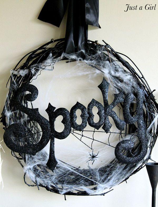 Black spooky halloween wreath