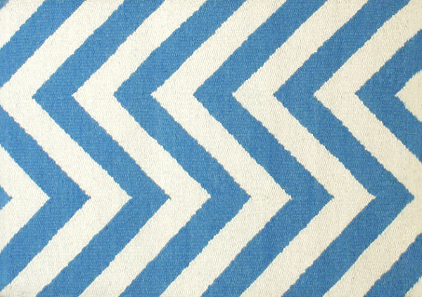 Blue and white herringbone rug