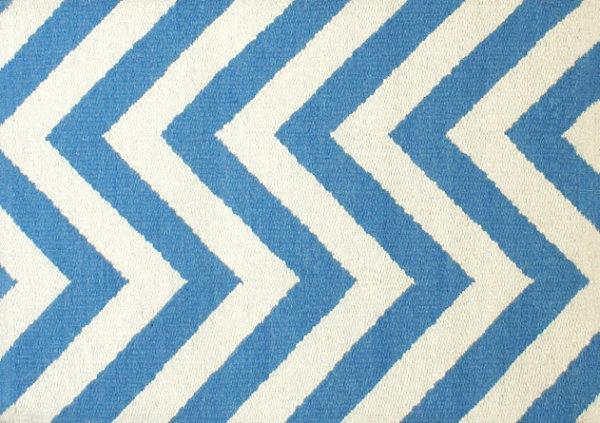 Blue And White Herringbone Rug