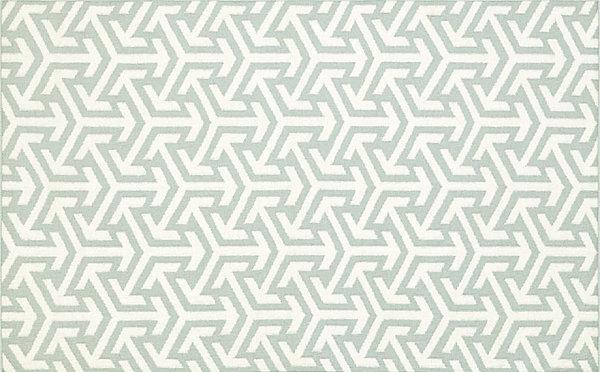 Blue and white optical rug