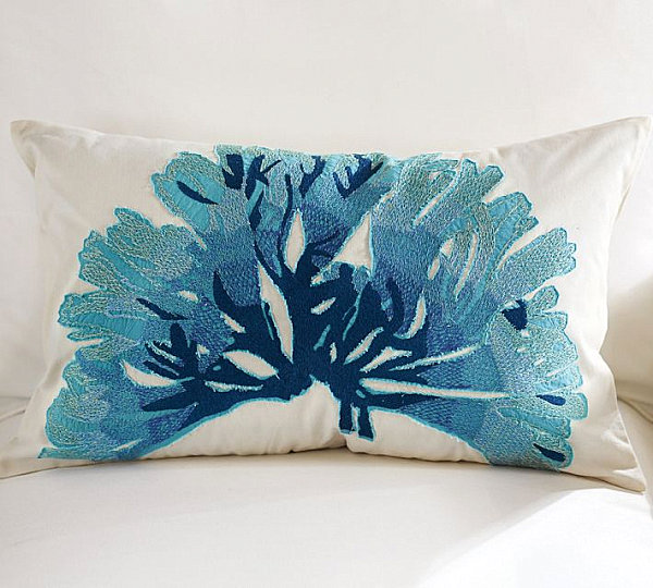 Blue coral pillow cover