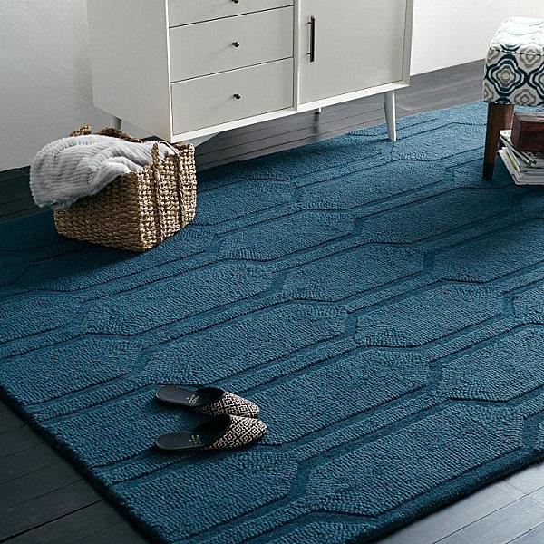 Blue honeycomb rug