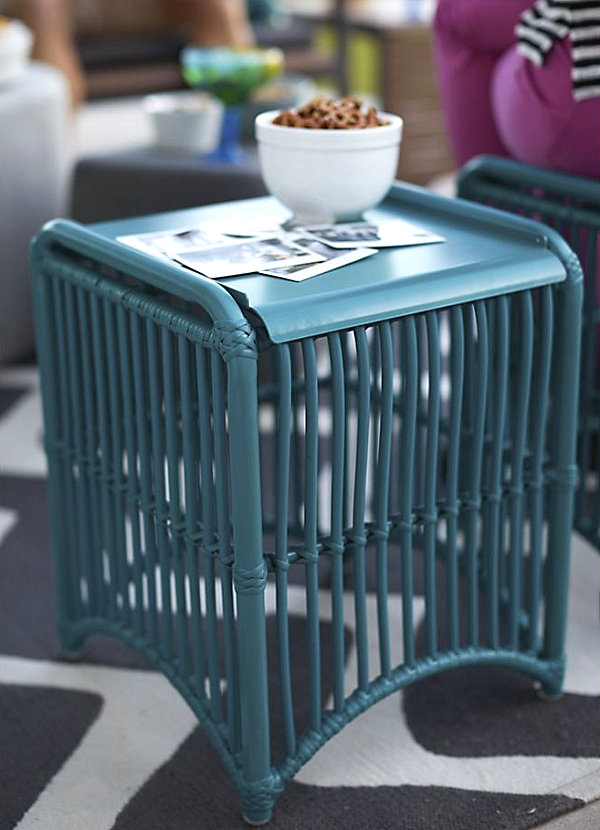 Blue lattice side table
