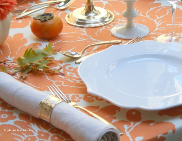 Bright fall table setting idea