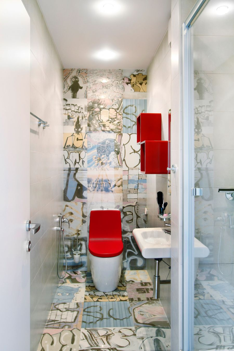 Bright red accents in the toilet