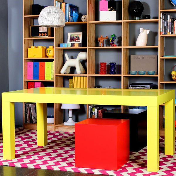 Bright yellow dining table