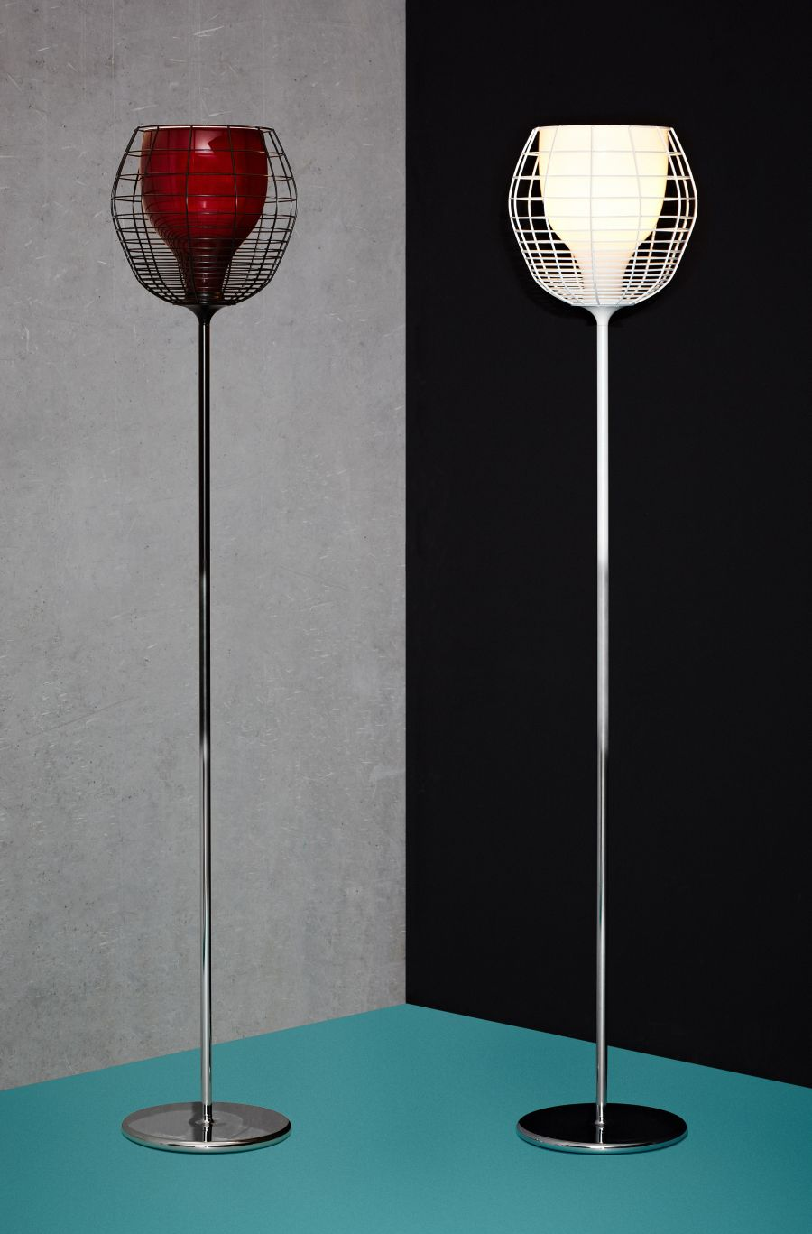 Cage floor lamps from Foscarini