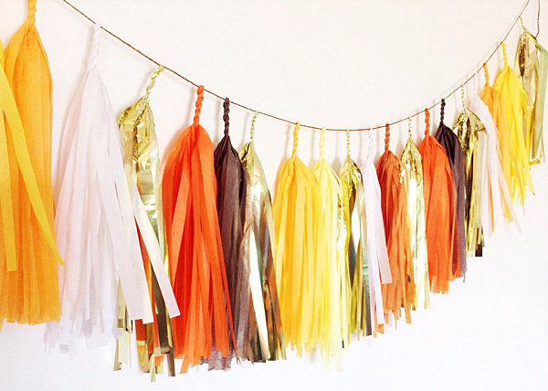Candy corn Halloween tassel garland