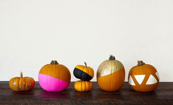 Chic painted pumpkins with glitter