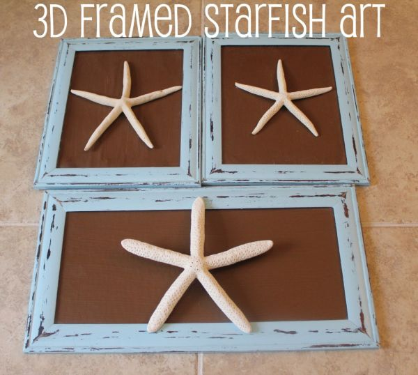 Coastal themed 3D framed starfish art DIY project