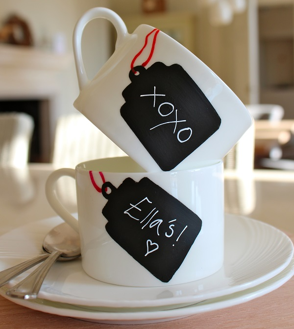 Coffee mugs with chalkboard paint name tags