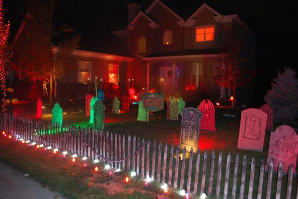 Colorful Halloween graveyard