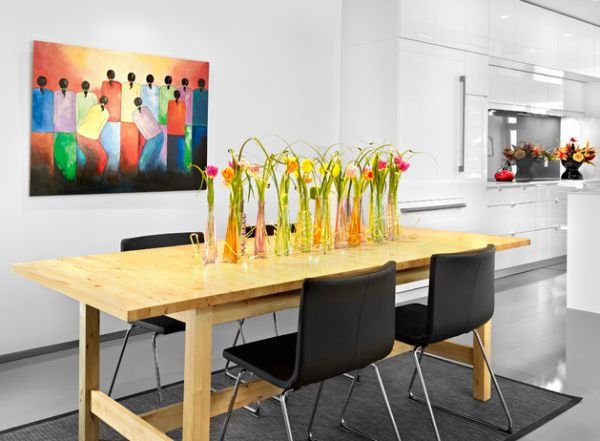 Colorful art installation and floral arrangement