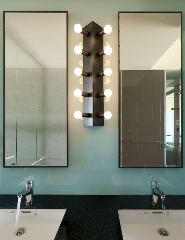 Colorful backsplash in the bathroom