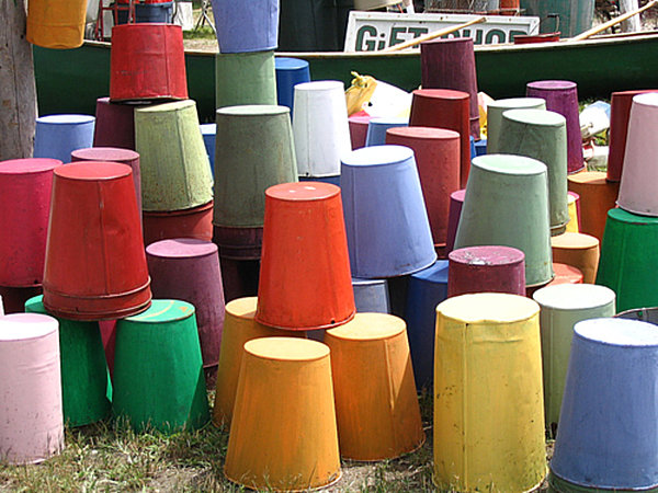 Colorful buckets at the Brimfield Antique Show