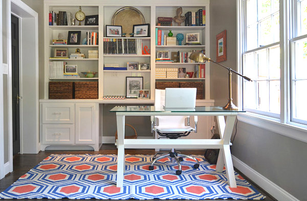 Colorful rug in a tidy home office