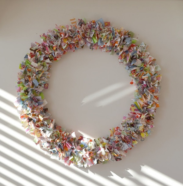 Colorful scrap fabric wreath
