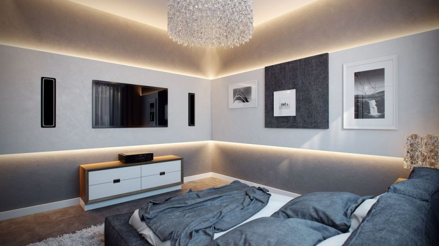 contemporary bedroom design with cool lighting