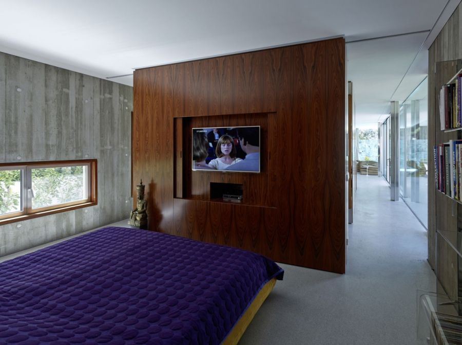 Contemporary bedroom with purple accents