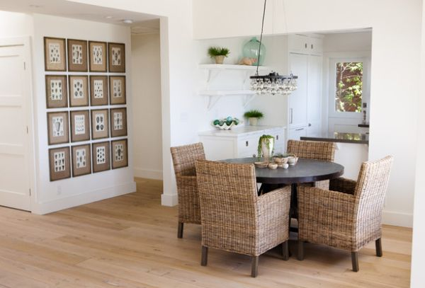 Contemporary dining room showcases sublime beachy textures