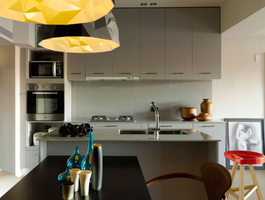 Contemporary pendant lights above the dining table