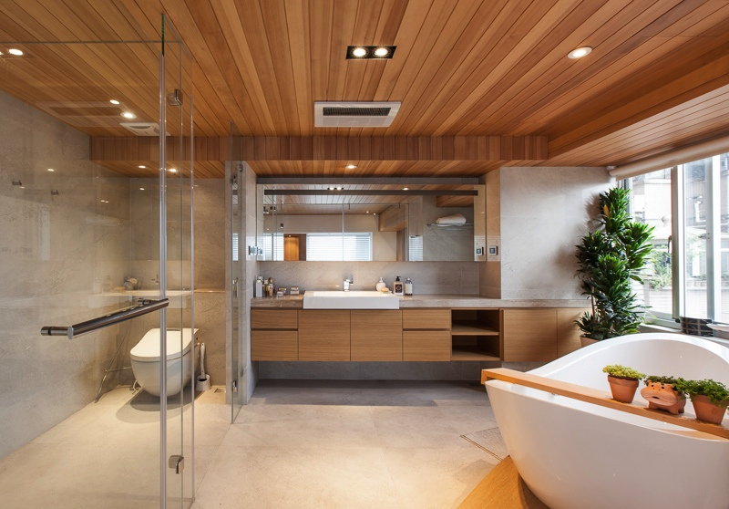 Contemporary spa-like bathroom at home