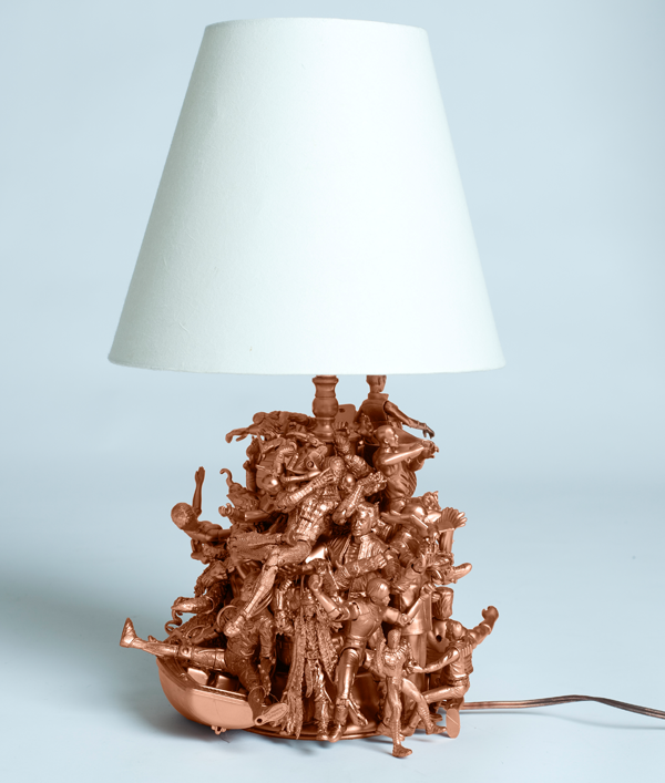 Copper action figure lamp