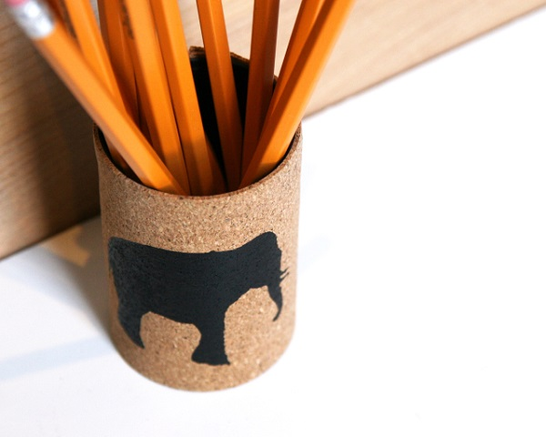 Cork and tin can pencil cup