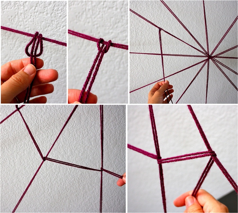 Creating the DIY yarn spider web