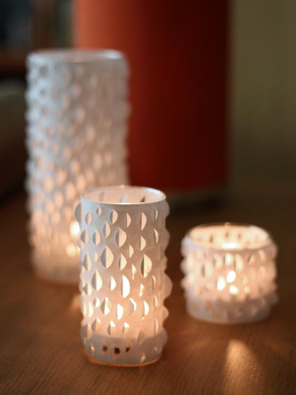 Cut paper candle holder DIY