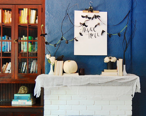 DIY Halloween mantel 20 More Halloween Decorating Ideas for a Spooky Celebration