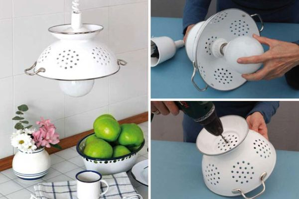 50 coolest diy pendant lights view in gallery diy pendant lamp of enameled colander mozeypictures Image collections