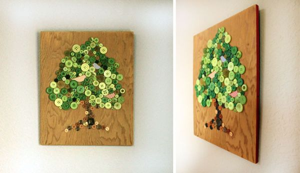 DIY wall art with buttons on wooden panel