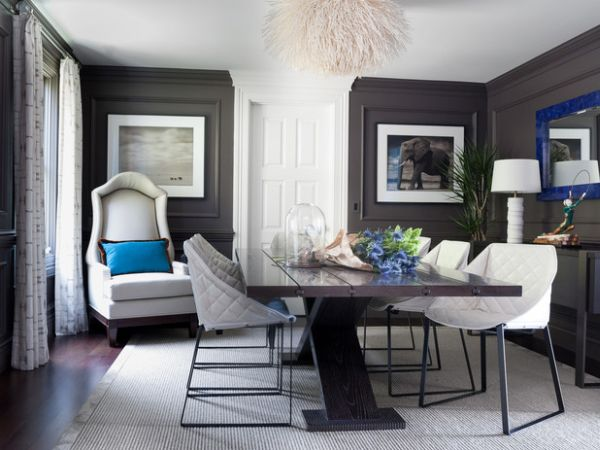 Dark gray makes quite an impact in this dining area