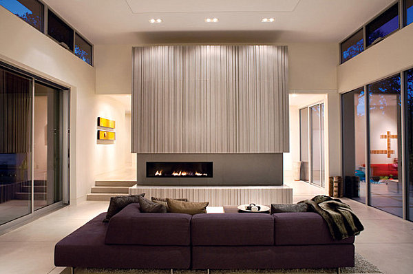 Deep purple seating in a modern space