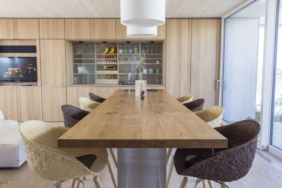 Dining space with wooden table