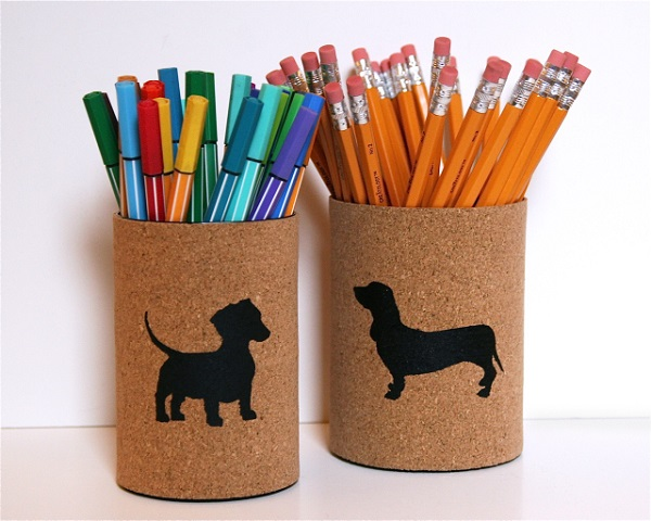 Dog print tin desk organizers