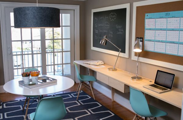 Eames molded plastic cairs in blue add cool accent color to the home office 30 Shared Home Office Ideas That Are Functional And Beautiful